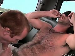 Cute dude gets blindfolded and gay sucked in the boys bus