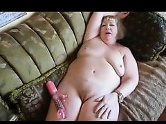 Granny masturbating with dildo and orgasm
